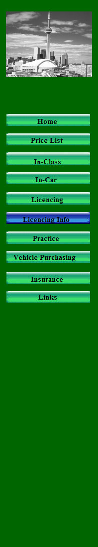 Menu: Price List, In-Class, In-car, Licencing, Licencing Info, Practice, Vehicle Purchasing, Insurance